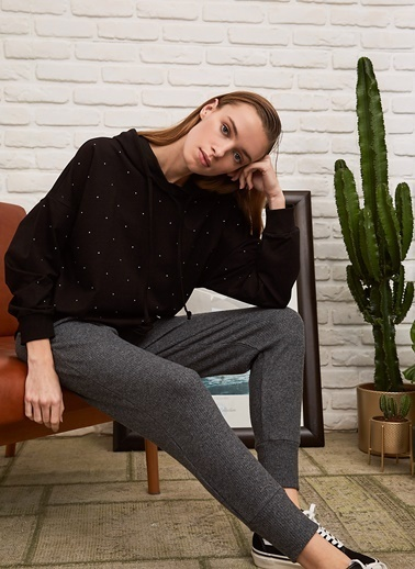 People By Fabrika Taşlı Sweatshirt Siyah